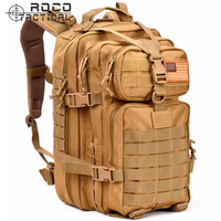 Tactical Military Assault Backpack 34L Army Patrol Molle Double Shoulder Backpack 3P Attack Backpack TAN Army