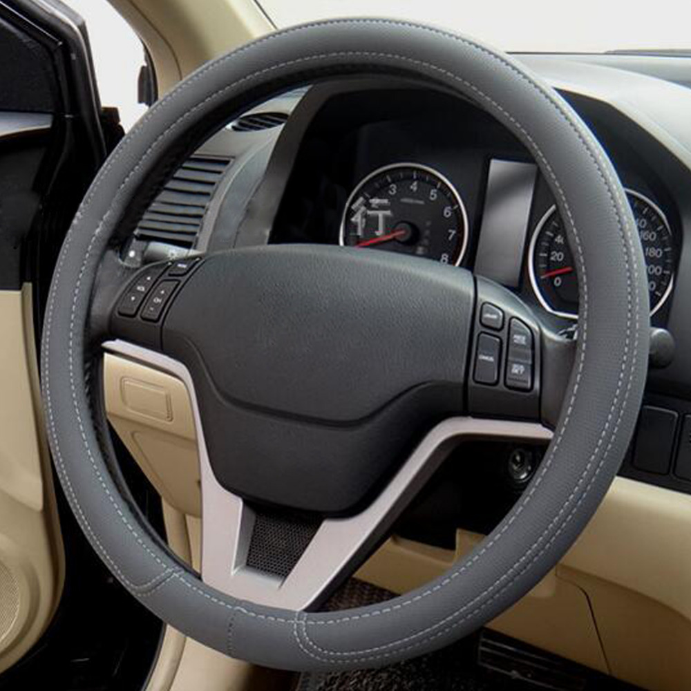 Black gray beige leather green rubber car steering wheel cover for kia hyundai toyota honda rio