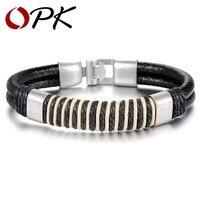 ОПК Мода Новый кожаный плетением плетеный браслет веревку, привлекательный Для мужчин jewelry браслет 21 см Длина Винтаж Интимные аксессуары 863