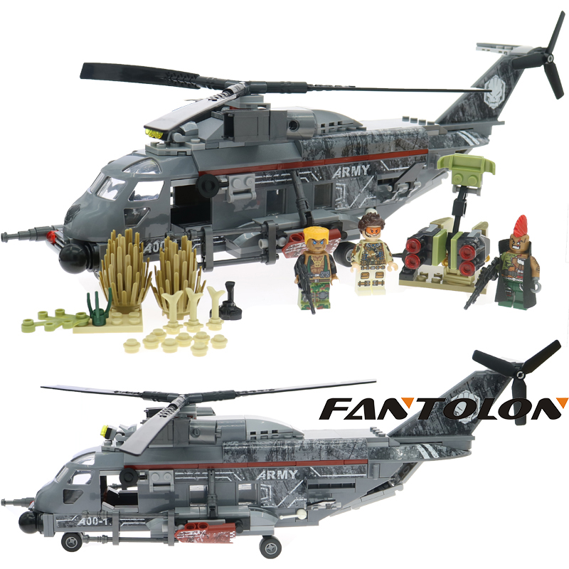 Laing Commando Legoing Military Figures Fighter Loader Building Blocks Legoingly Helicopter Model Forces War Brick Toys 340Pcs new model 340pcs military helicopter special forces war building blocks set army soldiers figures bricks toy for lepins children