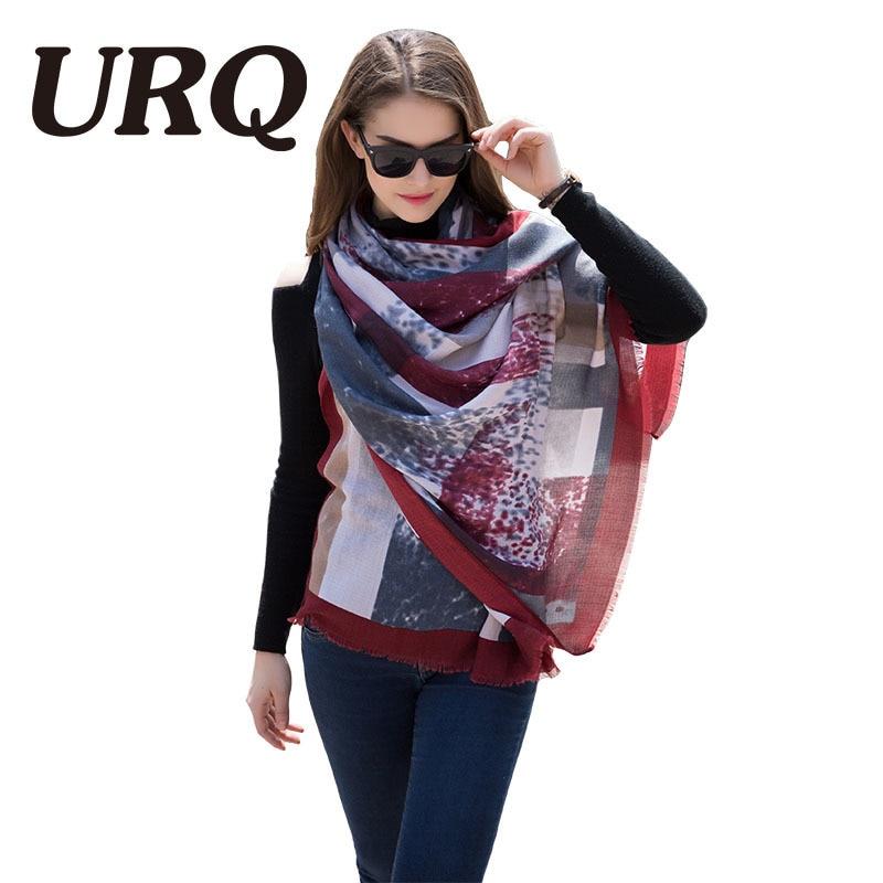 [URQ] Winter viscose   Scarf   Woman Long Soft touch Big size Plaid Printed Europe Retro style female shawl   wraps   big bufanda V8003