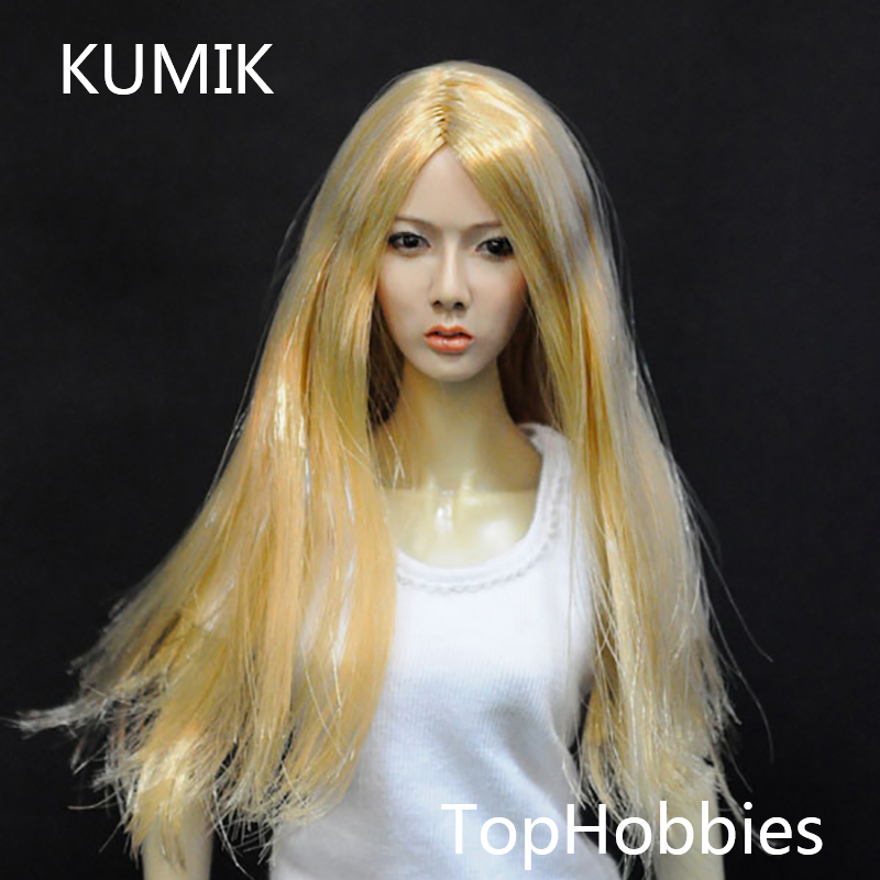 KUMIK 1/6 Female Head Sculpt Girl With Long Hair KUMIK13-13 Girl Head Fit 12 Inch HT Toys Action Figure kumik toys 1 6 female short hair head sculpts model kids toys girl head carving 13 46 np 12 action figure collections
