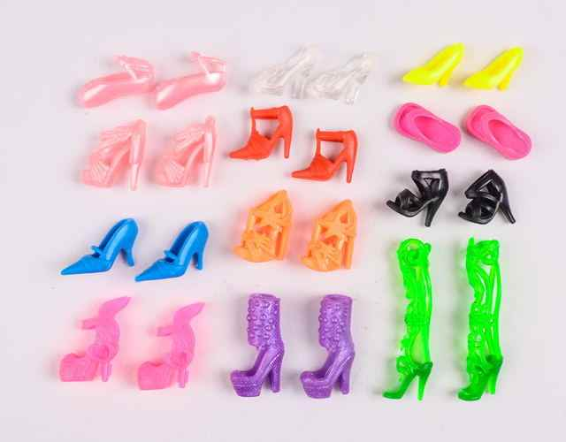 12 Pairs Mixed Fashion Colorful High Heels Sandals Accessories For Doll Shoes Clothes Dress Prop Girl Baby Best Gift Toys