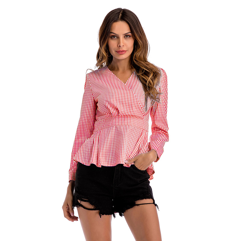 Bright Hot Womens Tops And Blouses Casual Plaid Blouse Shirts Fashion Waist Slim Long Sleeve Blouse Lattice Tops Rapid Heat Dissipation Women's Clothing