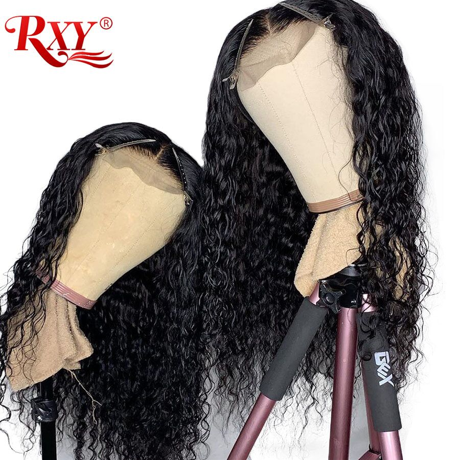 Glueless Lace Frontal Human Hair Wigs For Black Women Pre Plucked Water Wave Brazilian Wig With Baby Hair T Part RXY Remy Wig