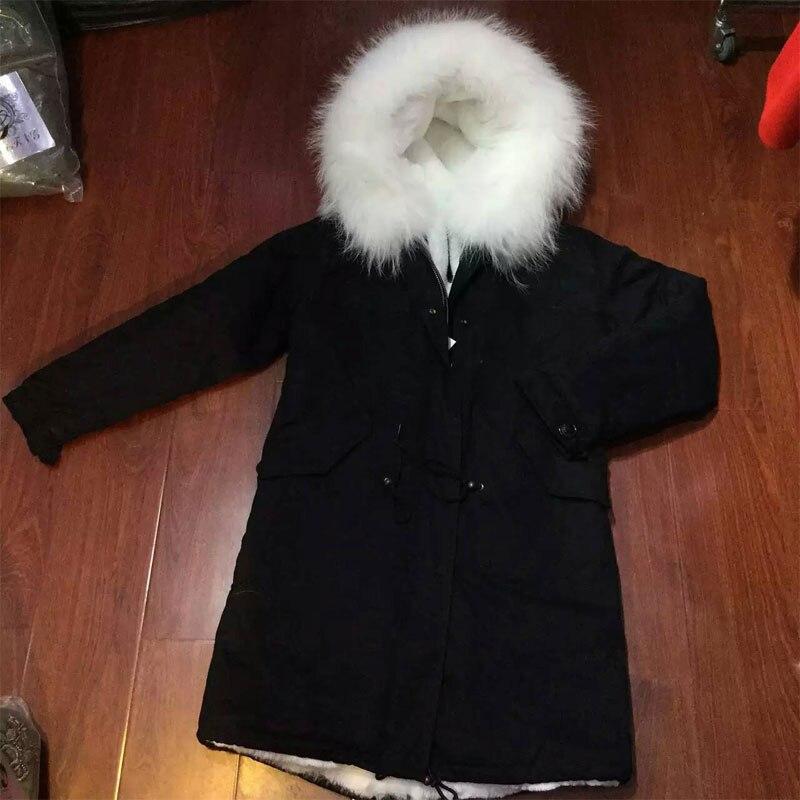 Black winter women coat white faux fur lining long jacket Free shipping
