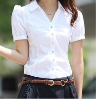 2017 New Summer Women Blouse Shirt Short Sleeve Plus Size Chiffon Blous Slim Female Shirts Elegant