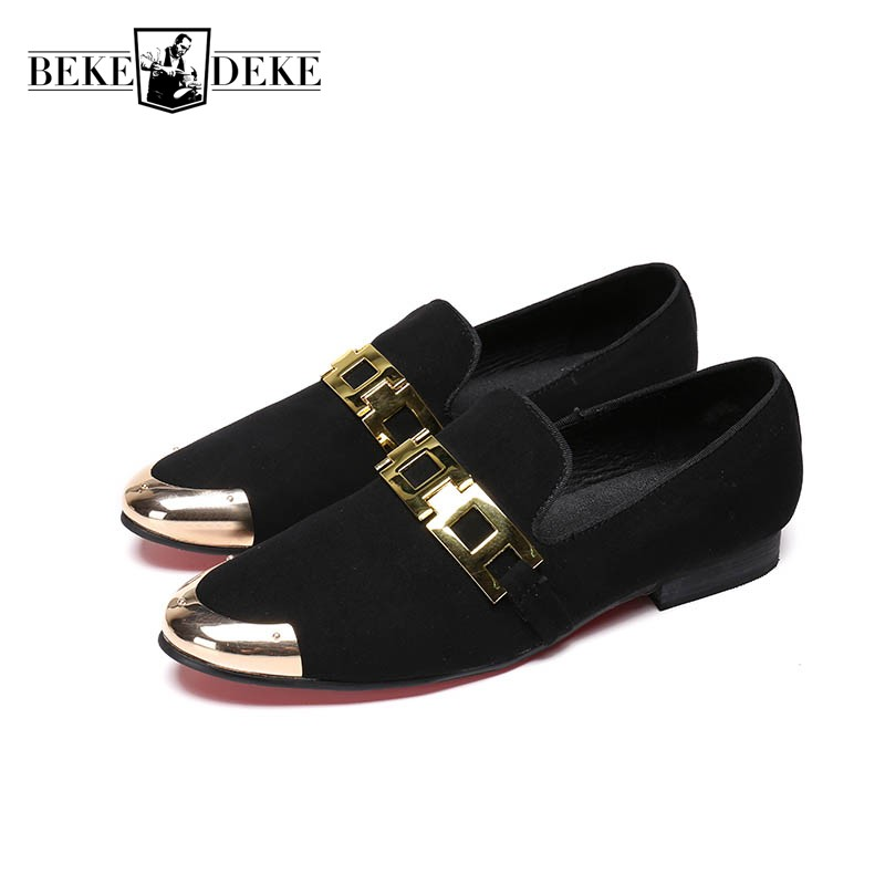 все цены на 2018 Spring Mens Slip On Loafers Black Red Genuine Leather Fashion Metal Toes Hair Stylist Shoes Office Party Plus Size Footwear онлайн