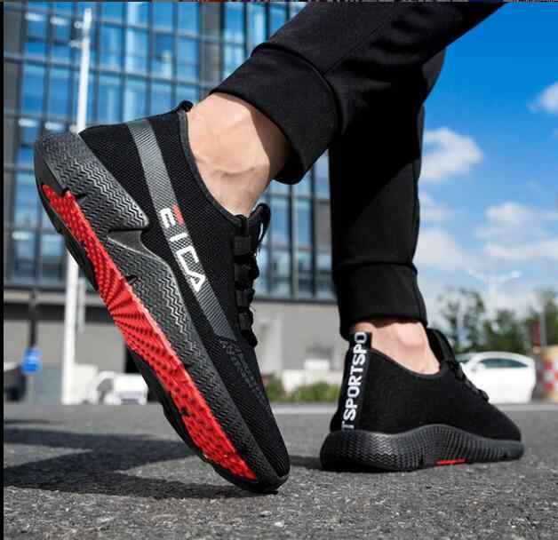 e77d09a6b 2019 Nova Moda Primavera E Outono dos homens Lace-UP Tênis Respirável Sapatos  Casuais Homem
