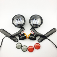 Black Auxiliary Lighting Brackets Fog Light With Turn Signals For Harley Street Glide FLHX Electra Glide