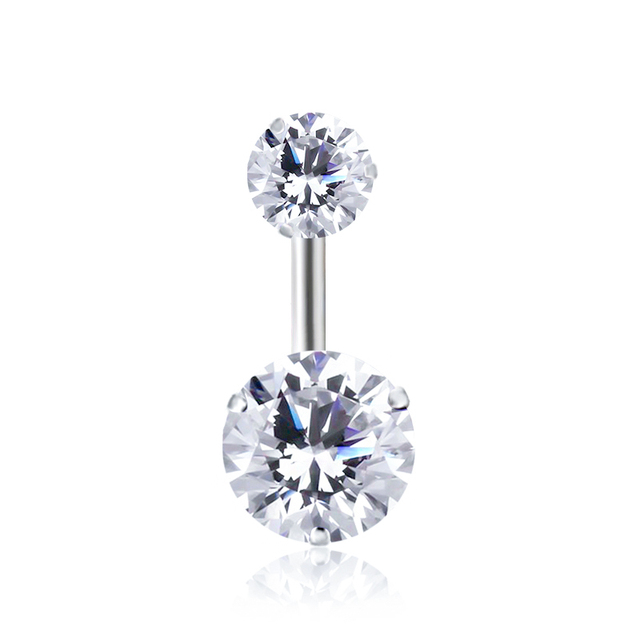 12 Colors Double Round Cubic Zirconia Geometric Shape Belly Button Ring Piercing Body Jewelry Nightclub Dance 10*1.6*8mm Brincos