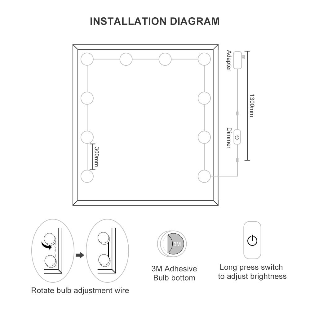 Buy Modern Led Vanity Mirror Makeup Light 10w Bulb Wiring Diagram Bathroom Spotlights 01 02