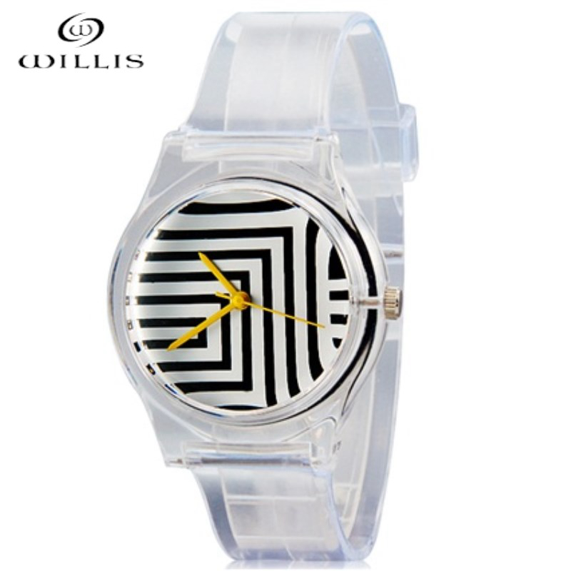 все цены на WILLIS Brand Wrist Watch Zebra Pattern Women Silicone Strap Maze Design Watch Quartz Fashionable Leisure Girls waterproof Watch онлайн
