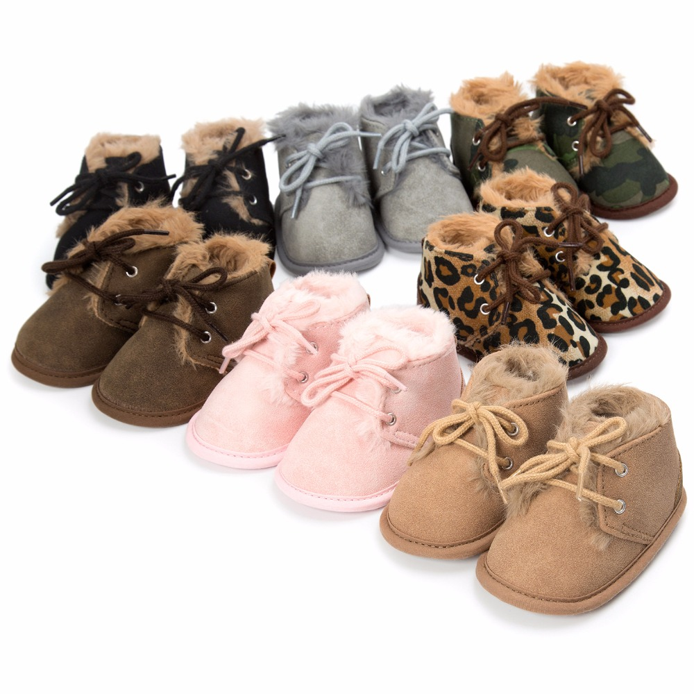 2019 New Winter Baby Super Warm Boots With Fur Baby Boys Girls Boots First Walkers Sofe Sole 0-18 Month Baby Shoes