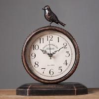 European retro clock, living room wrought iron vintage clock, desktop mute clock.