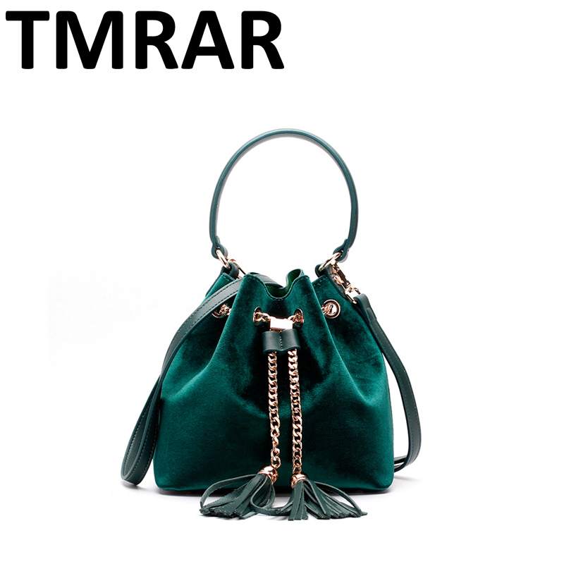 2017 New classic bucket shoulder bag with tassel tote lady velvet & split leather handbags women crossbody bags for female qn270