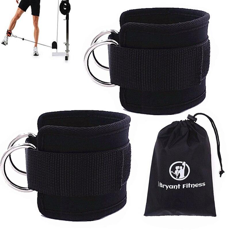 1 par faixas de resistência 2 duplo d-ring tornozelo cintas para máquinas de cabo ajustável neoprene premium punhos casa ginásio fitness