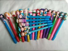 20pcs High quality Polymer clay ballpoint pen in stock ,promotional students gift ball ,novelty cartoon ,mix all
