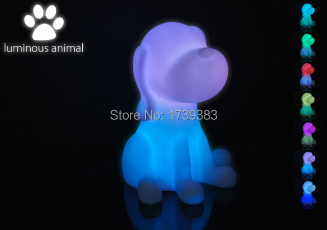 Free shipping Rainbow Colorful Animal Dog LED night light lamp for kids Chien Night Lamp for Children Christmas Gift wholesales in LED Night Lights from Lights Lighting