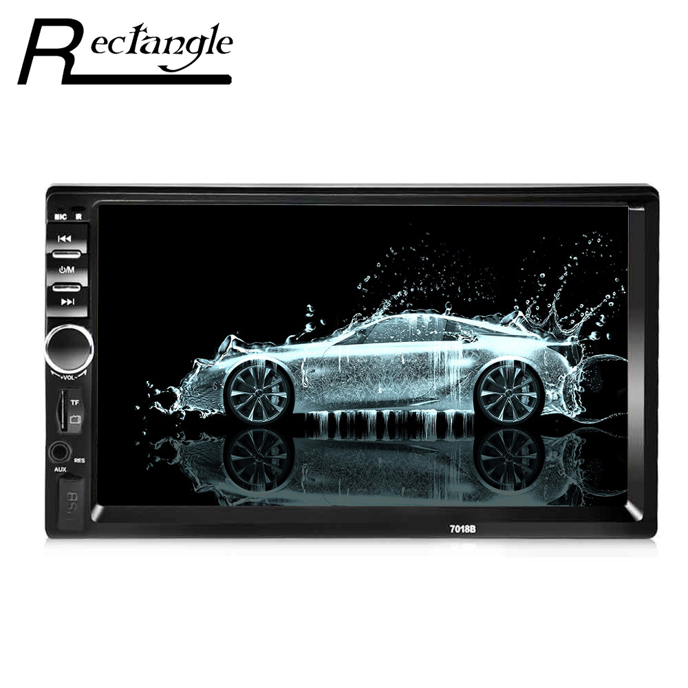7018B 7 Inch Car Video MP5 Player 2 Din Audio Stereo FM Radio Touch Screen Support TF MMC USB Bluetooth 12V Remote Control 2015 new support rear camera car stereo mp3 mp4 player 12v car audio video mp5 bluetooth hands free usb tft mmc remote control