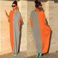 Oversized ZANZEA 2017 Women Summer Boho Long Dress O-neck Batwing Sleeve Patchwork Loose Maxi Beach Dresses Plus Size Vestidos