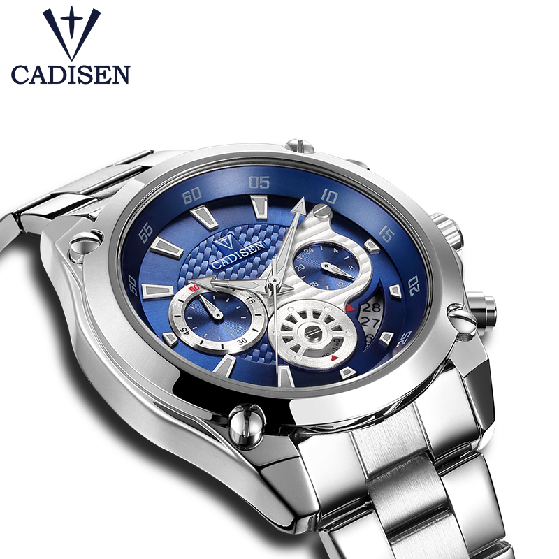 Mens Watches Top Brand Luxury Cadisen Military Sport Quartz Chronograph Watch Men Waterproof Full Stainless Steel Wrist watch cadisen top new mens watches top brand luxury complete calendar 3atm sport watches for men clock stainless steel horloges mannen