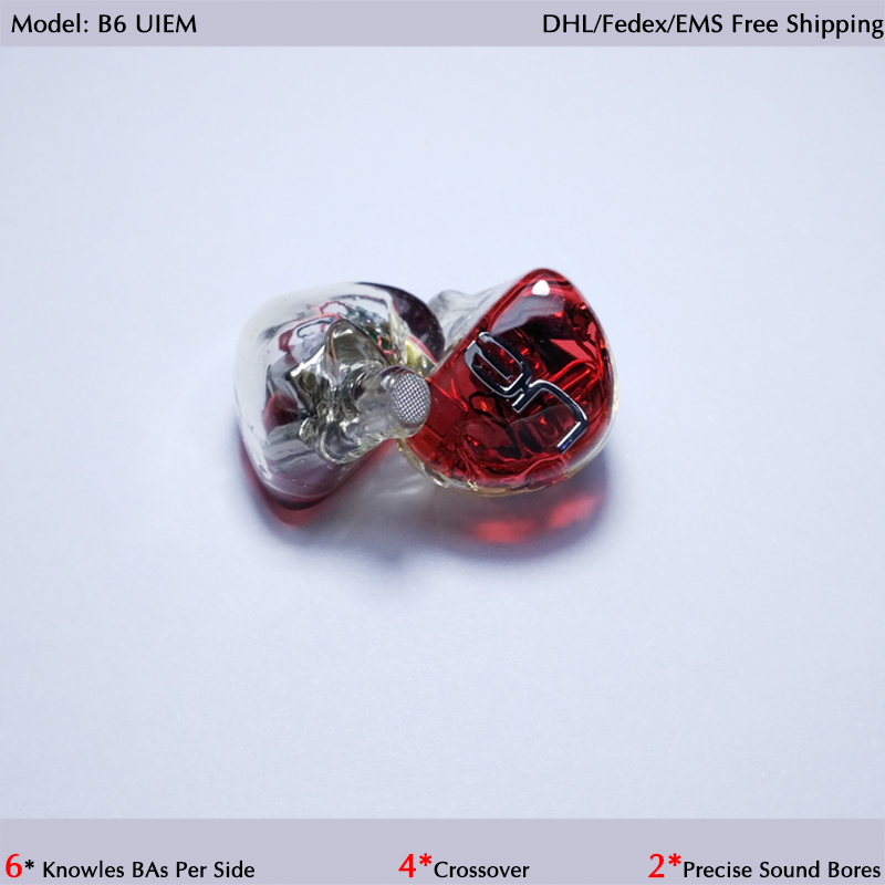 Hisenior B6 6 12BAs Driver Universal Fit Balanced Armature In-Ear Monitor IEM Noise Cancelling Custom Earphone DHL Free Shipping nice fit hearing aid shell iem earphone resin in ear monitor housing resin hard earmold material