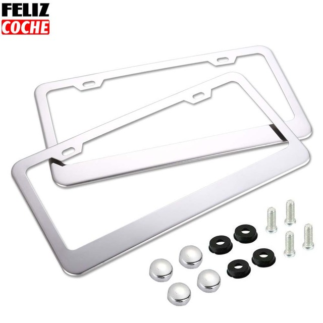 2pcs Lot Us Standard Car License Plate Frame Stainless Steel Chrome Tag Cover With Caps America Styling A2117