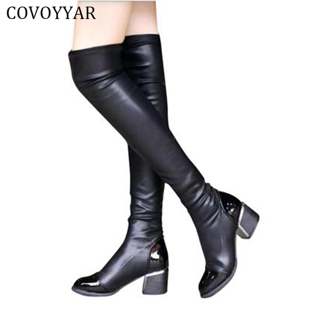 98a3767cddcd 2017 Fashion PU Leather Over Knee Boots Women Sequined Toe Elastic Stretch  Thick Heel Thigh High Riding Boots Big Size 40 WBS156