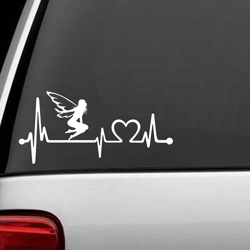 Fairy Heartbeat Monitor Decal Sticker Car Truck Surface Art Painting Car Stickers Vinyl Decor Decals in Car Stickers from Automobiles Motorcycles