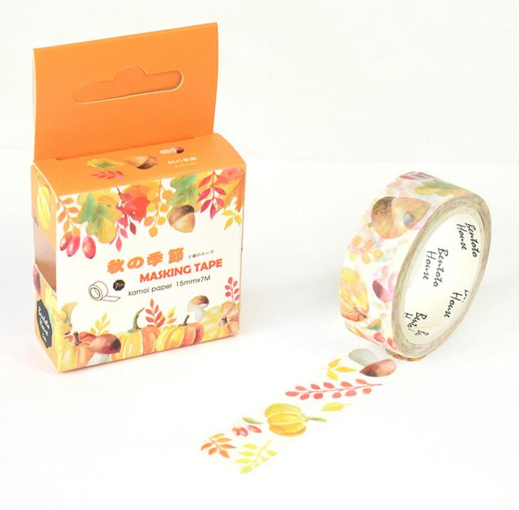 JA218 The Harvest of Autumn Decorative Washi Tape DIY Scrapbooking Masking Tape School Office Supply Escolar Papelaria 1 5cm 5m star twigs gold silver washi tape diy scrapbooking masking tape school office supply escolar papelaria