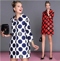 Fashion 2015 autumn outerwear peter pan collar polka dot cute medium-long women's European big Bob point type cocoon trench coat