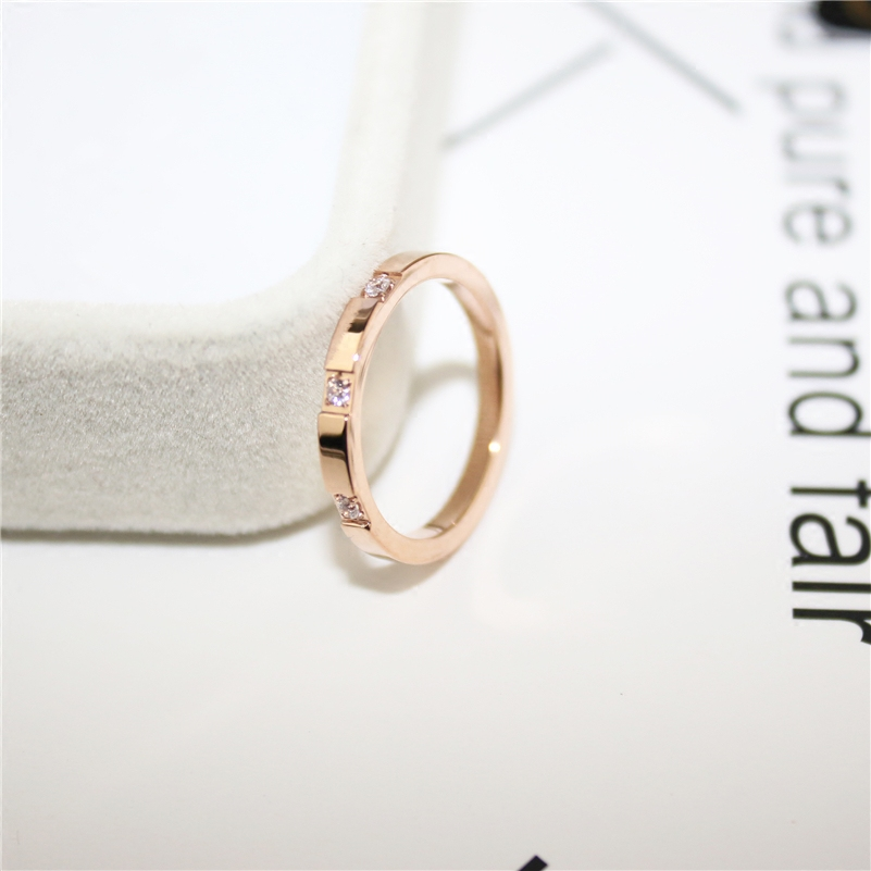 YUN RUO Brand 3 Zirconia CZ Rings for Woman Man Wedding Jewelry Rose Gold Silver Colors 316 L Stainless Steel Gift Top Quality in Wedding Bands from Jewelry Accessories