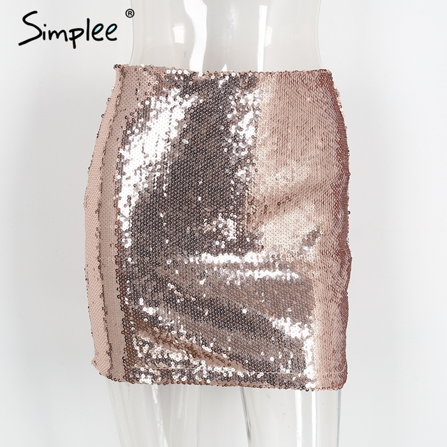 Simplee Sexy gold sequin bodycon skirt pencil skirt Vintage black zipper women skirt Elegant evening party club short skirt