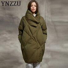 YNZZU 2019 Winter Bread Down Jacket Women Army Green Elegant Mid-Long Loose Thic