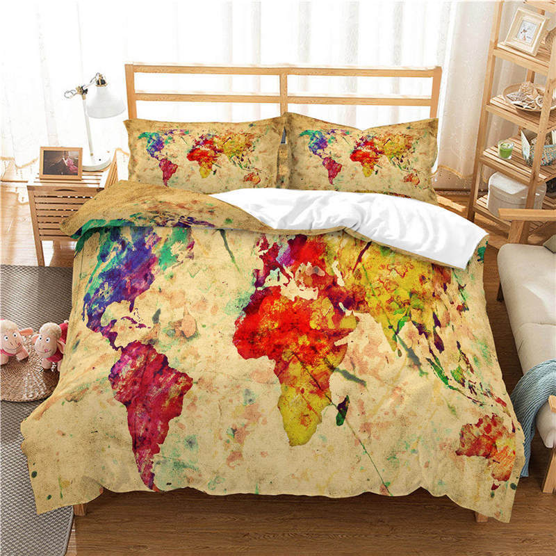 US $27.6 31% OFF|WAZIR world map 3D Reactive printing bedding set duvet  cover Pillowcases comforter bedding sets Country map bedclothes bed  linen-in ...