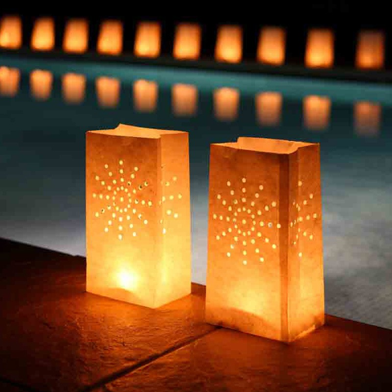 unids luminaria linterna de papel bolsa de papel bolsa de t luz de velas titular
