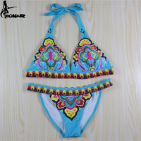 Bikini 2016 Bohemia Style Swimwear Women Print Floral Brazilian Bikini Set Sexy Bandage Swimsuit Women Bathing