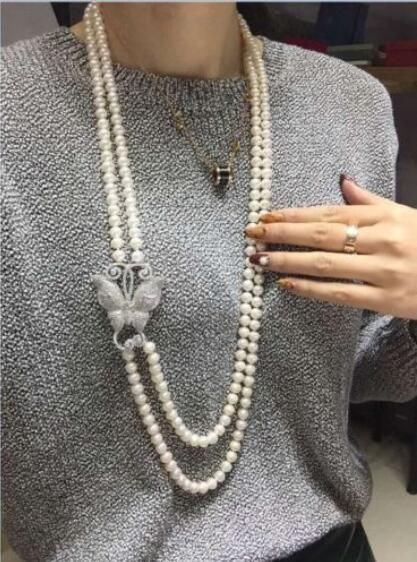 double strands 9-10mm round south sea white pearl necklace 22-24inch fashion new classic 9 10mm south sea round white pearl necklace 60inch