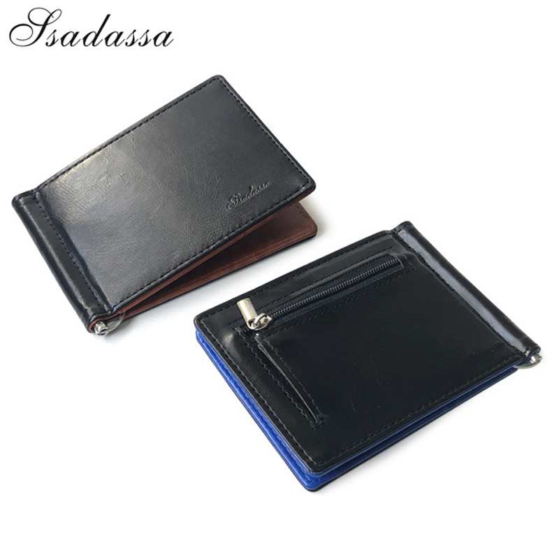 New Arrival Slim Men's Leather Money Clip Wallet With Coin Pocket Bank Card Slots A Metal Clamp Cash Holder Purse For Man