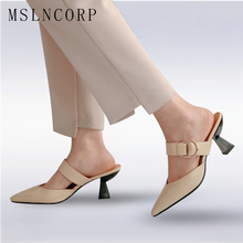 Size 34-43 Fashion Women Slippers High Heels Dress Shoes Pointed Toe Slippers Outside Mules Slides Pumps Sandals zapatos mujer