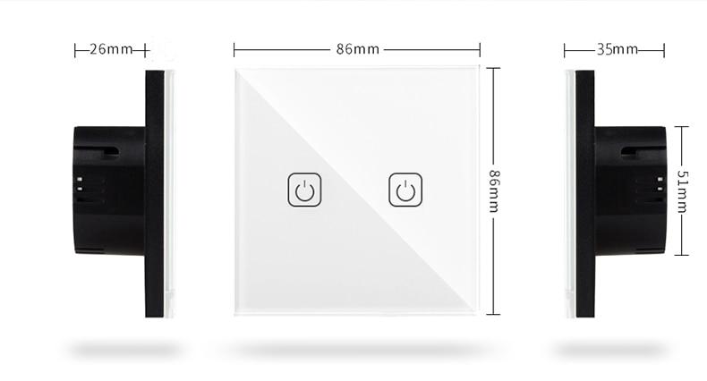 Le Jeune moderne.Accueil-Interrupteur tactile 220v norme EU jusqu'à 3 circuits. Panneau en verre.-Entrez dans l'aire du tactile avec ces interrupteur à commande tactile. Terminé la poussièresur les interupteur, cet interrupteur actile se netoie avec une simple éponge ou chiffon sec. 220v. Incrustation standard. remplacez votre interrupteur en quelques minutes.