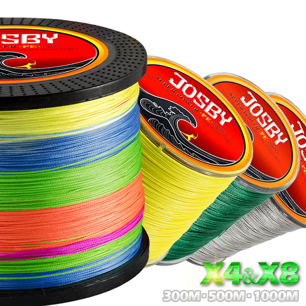 JOSBY 300 m 500 m 1000 m 4 Brins 8 Brins Multicolore PE Fil Tressé Multifilament Ligne De Pêche De Pêche 4 couleur 10-80 LB
