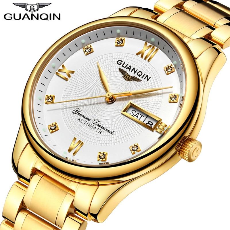 GUANQIN 2017 relojes automáticos para hombre, reloj dorado de acero de marca superior, relojes de pulsera luminosos para hombre, reloj Masculino, reloj Masculino-in Relojes mecánicos from Relojes de pulsera    3
