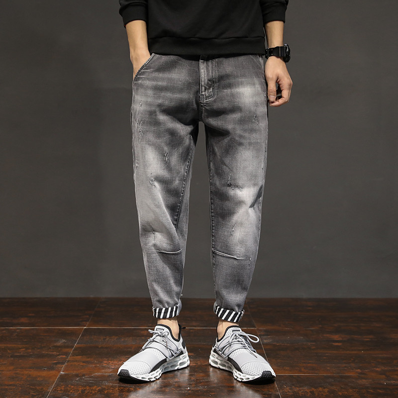 New Fashion Mens Jeans Casual Quality Straight Slim Distressed Grey Jeans Brand Jeans Rock Style Loose Jeans Mens Trousers