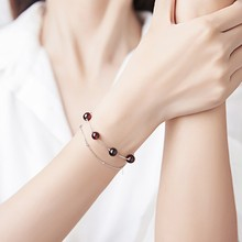 Ruifan Elegant Double Layers Round Natural Garnet Bracelet 925 Sterling Silver Chain for Women Ladies Jewelry YBR107