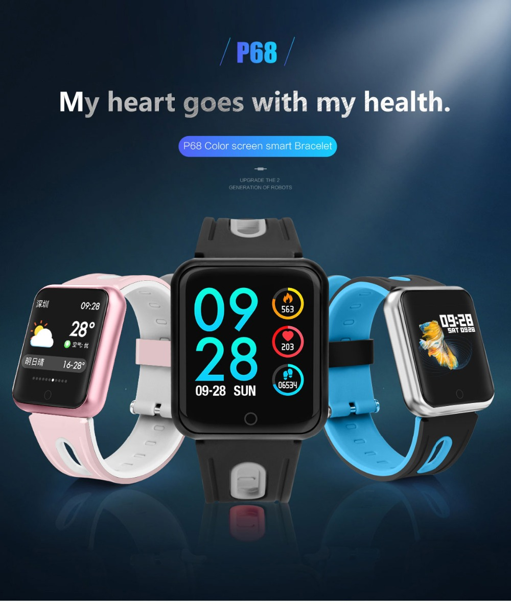 Smart Watch P68 Sports IP68 fitness bracelet activity tracker heart rate  monitor blood pressure for ios Android apple iPhone