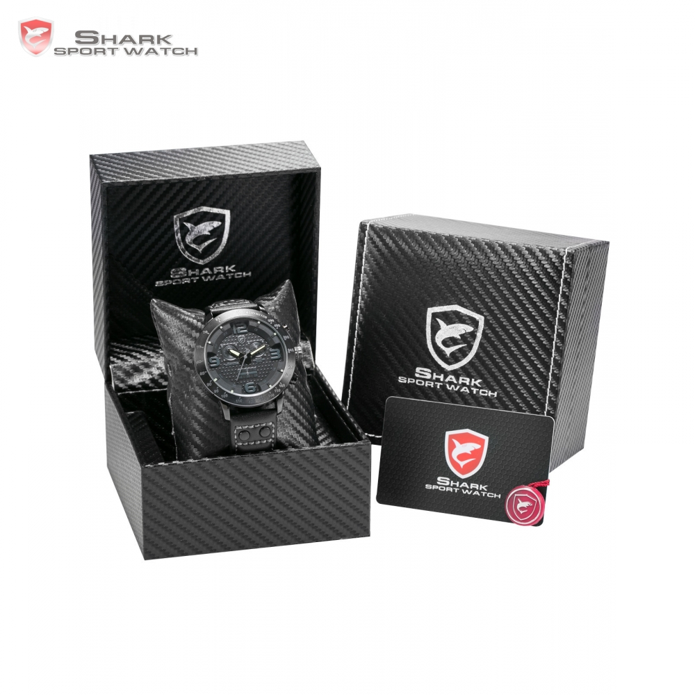Longfin サメスポーツ腕時計メンズブランド腕時計スチールクロノグラフ本革ストラップクォーツ時計/SH400 403  グループ上の 腕時計 からの クォーツ時計 の中 1