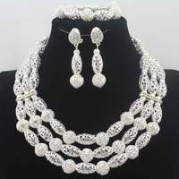 Christmas New Fashion African Wedding Jewelry Set Handmade 3 Layers Silver Beads Bridal Necklace Jewelry Sets Free Ship W13692
