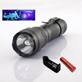 Powerful Uv Purple Linternas 395nm Led Flash Torch Light Lamp Ultra Violet Flashlight Ultraviolet Lamp + 18650 Battery +Charger